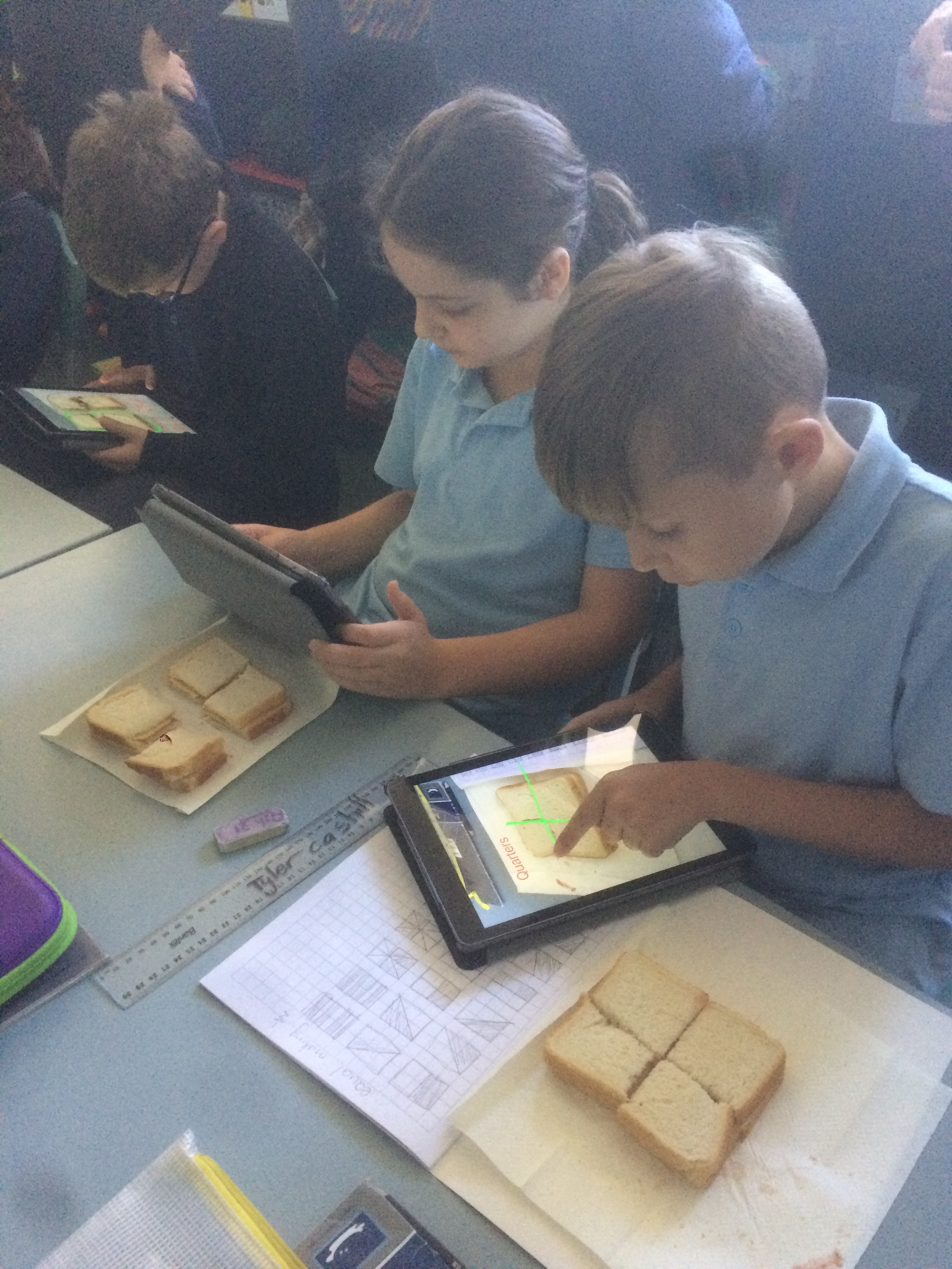 Making fraction sandwiches, taking an image with the iPad and then annotating the image to show our learning