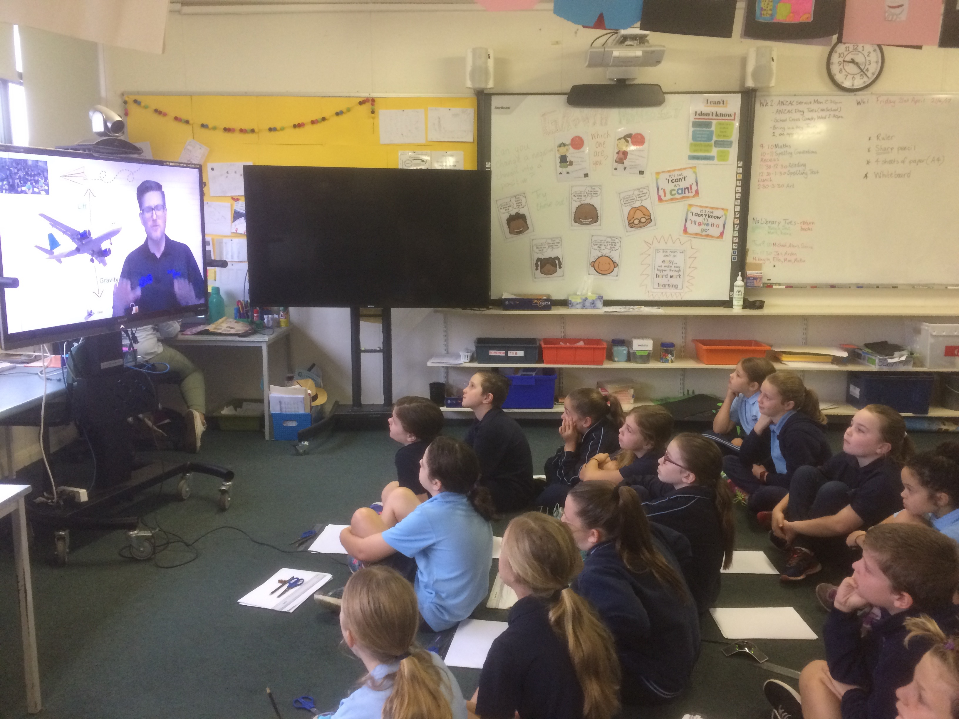 Students joined in a Virtual Conference with Questacon in Canberra learning all about how planes work. We then used this info to make Paper Planes and use them for data and measurement maths.